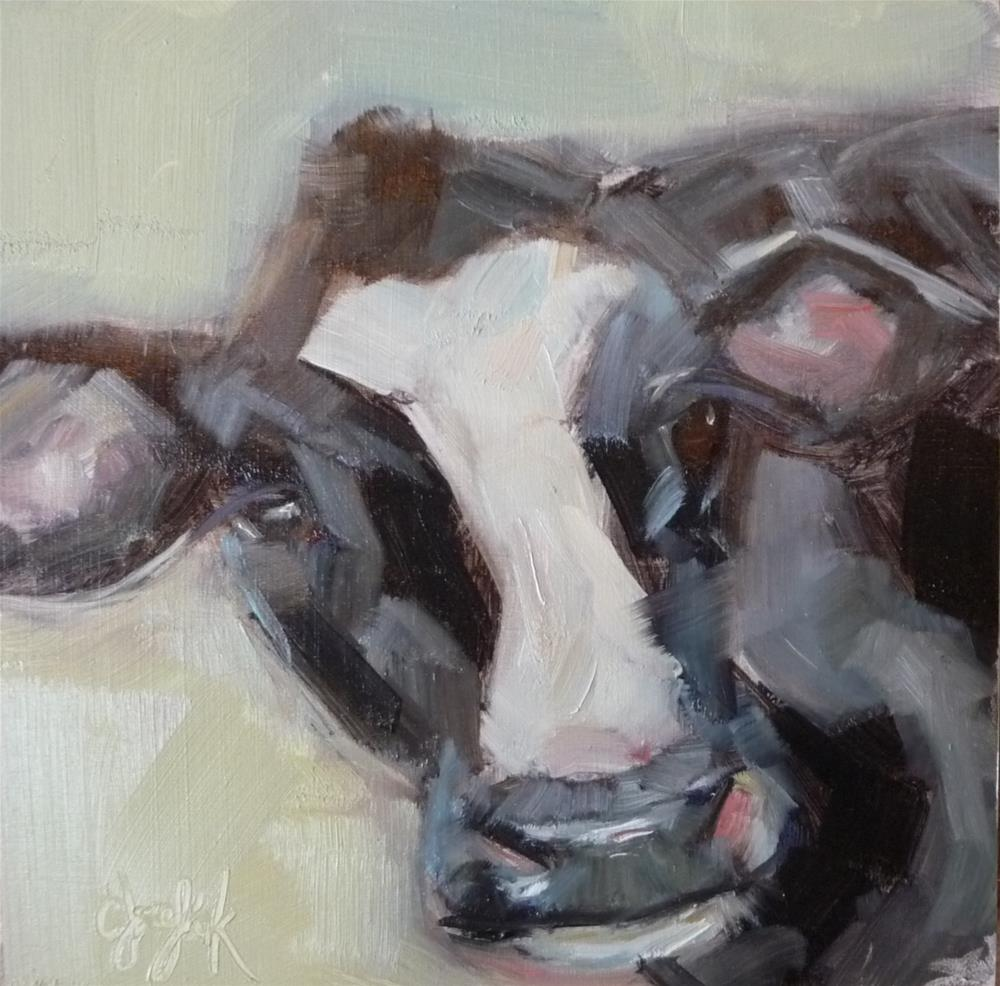 """What does a cow say?"" original fine art by Carol Josefiak"