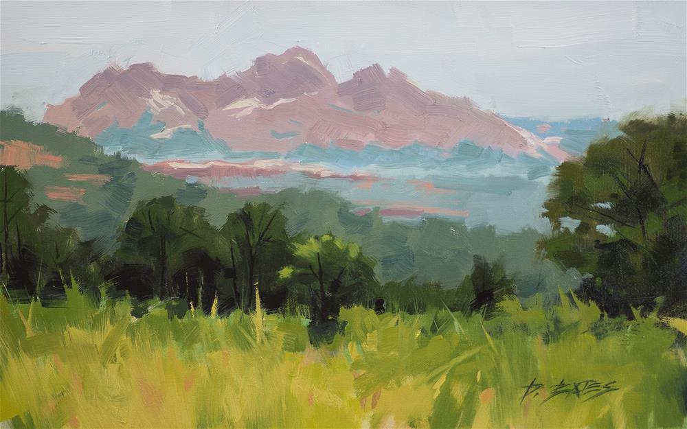 """Hazy Garden of the Gods"" original fine art by David Bates"