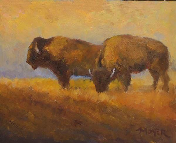 """""""Buffs at dusk"""" original fine art by Jim Moyer"""
