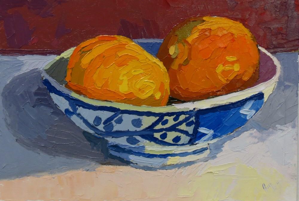 """Orange Bowl"" original fine art by Joan Wiberg"