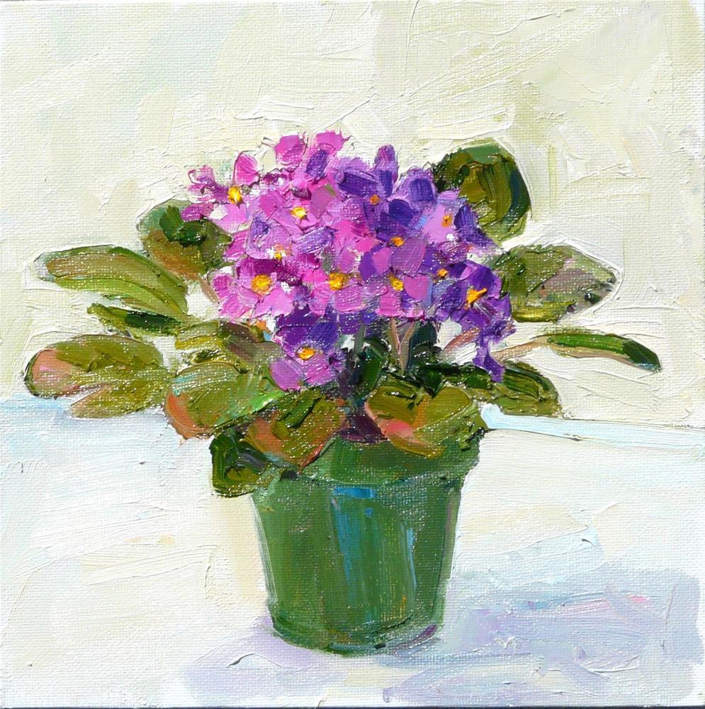 """African Violet #2,still life,oil painting,8x8,price$275"" original fine art by Joy Olney"