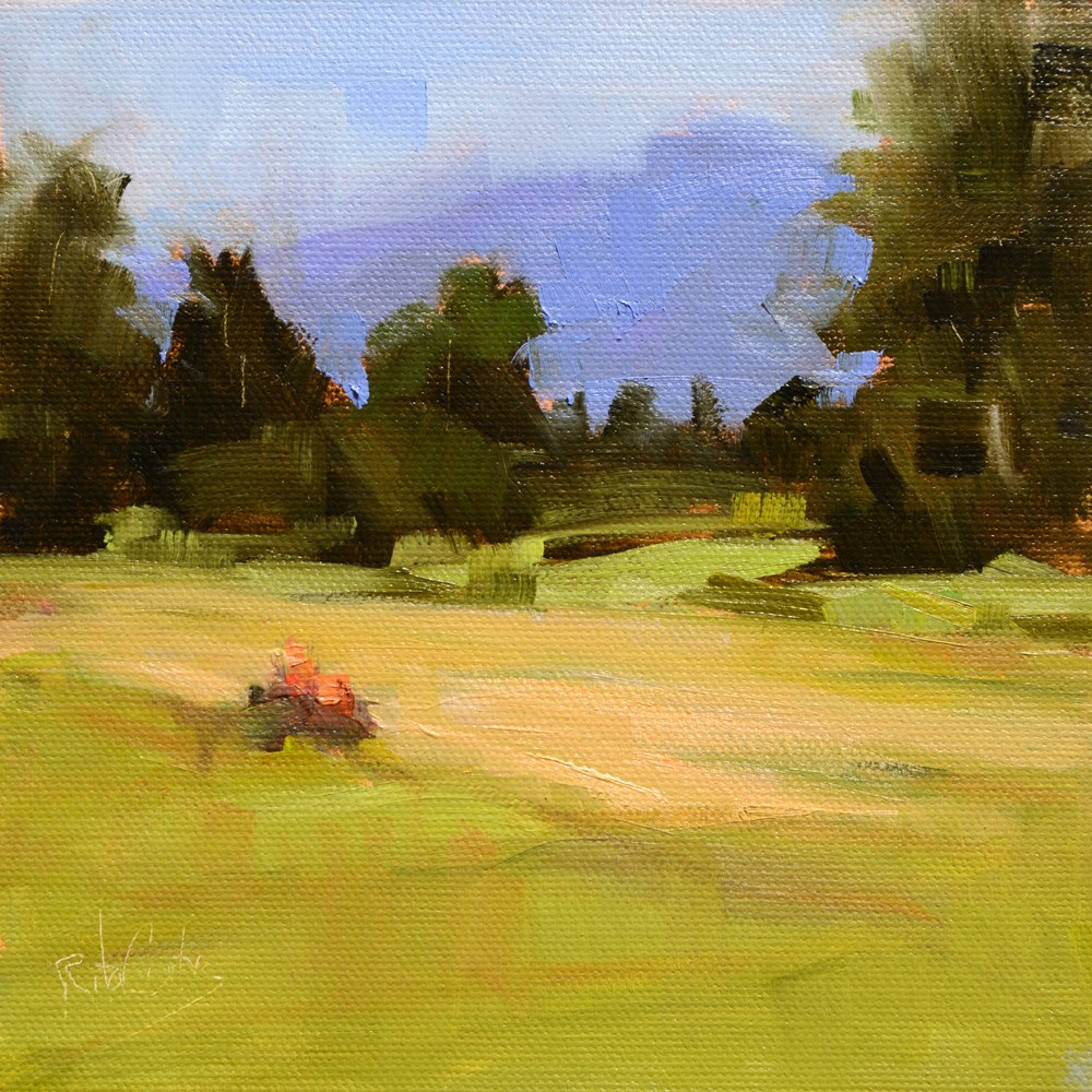 """Red Tractor Rolls On"" original fine art by Rita Curtis"