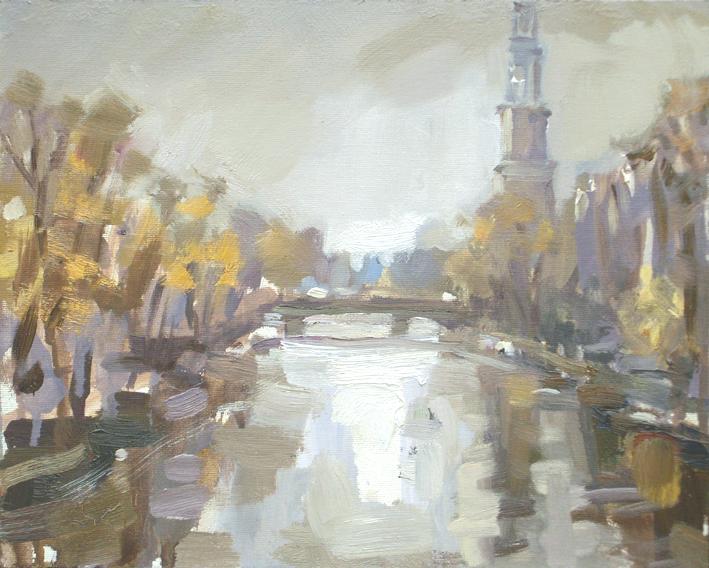 """""""Amsterdam in autumn #6 Westertoren"""" original fine art by Roos Schuring"""