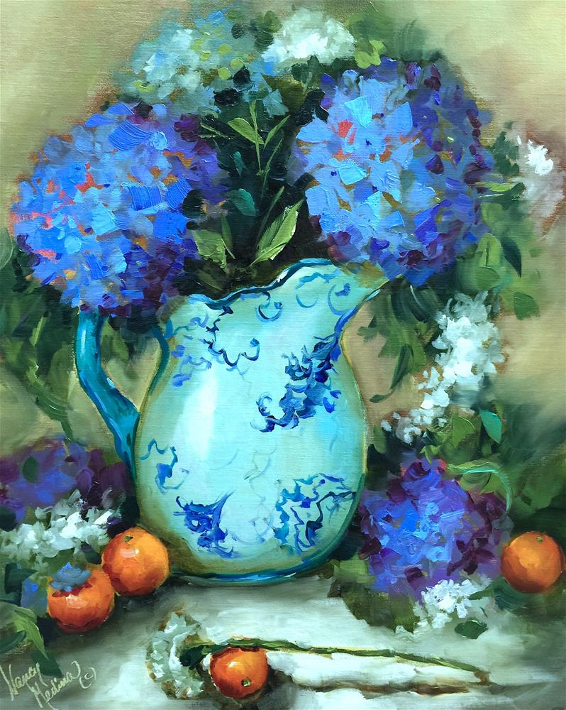 """Carnations and Blue Hydrangeas - Nancy Medina Art Classes and Videos"" original fine art by Nancy Medina"