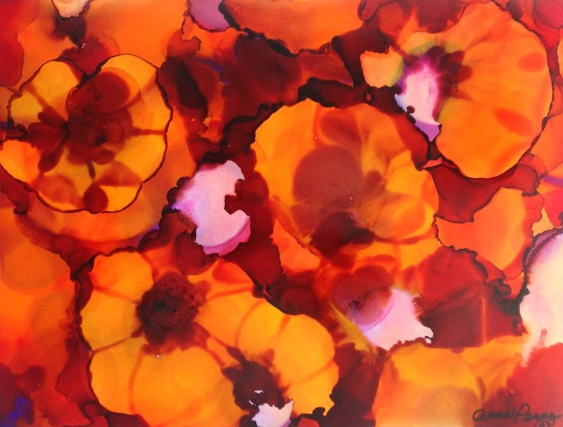"""""""Red and Orange Pansies"""" original fine art by Anna Penny"""