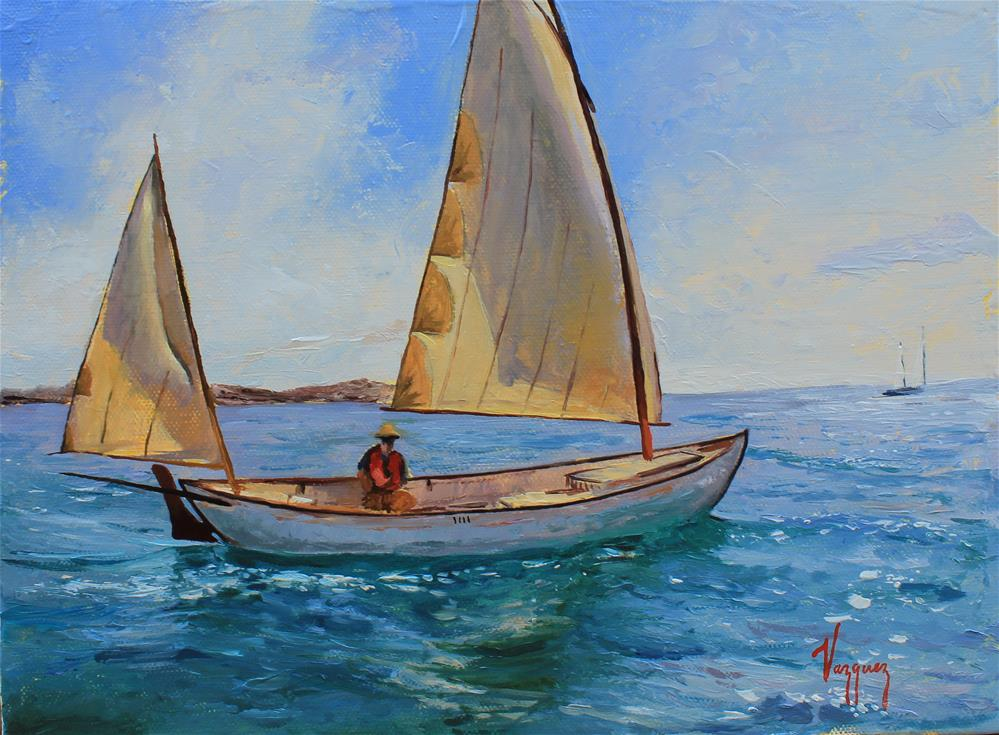 """""""Sailing on emerald waters"""" original fine art by Marco Vazquez"""