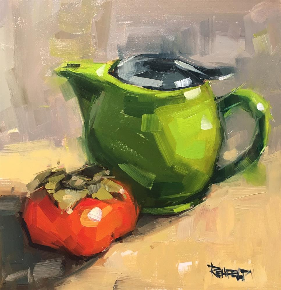 """Teapot and Persimmon"" original fine art by Cathleen Rehfeld"