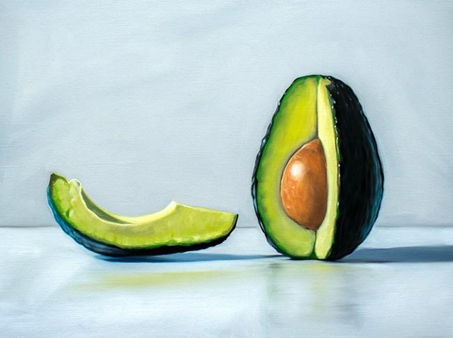 """""""Quarter Sliced Avocado"""" original fine art by Lauren Pretorius"""
