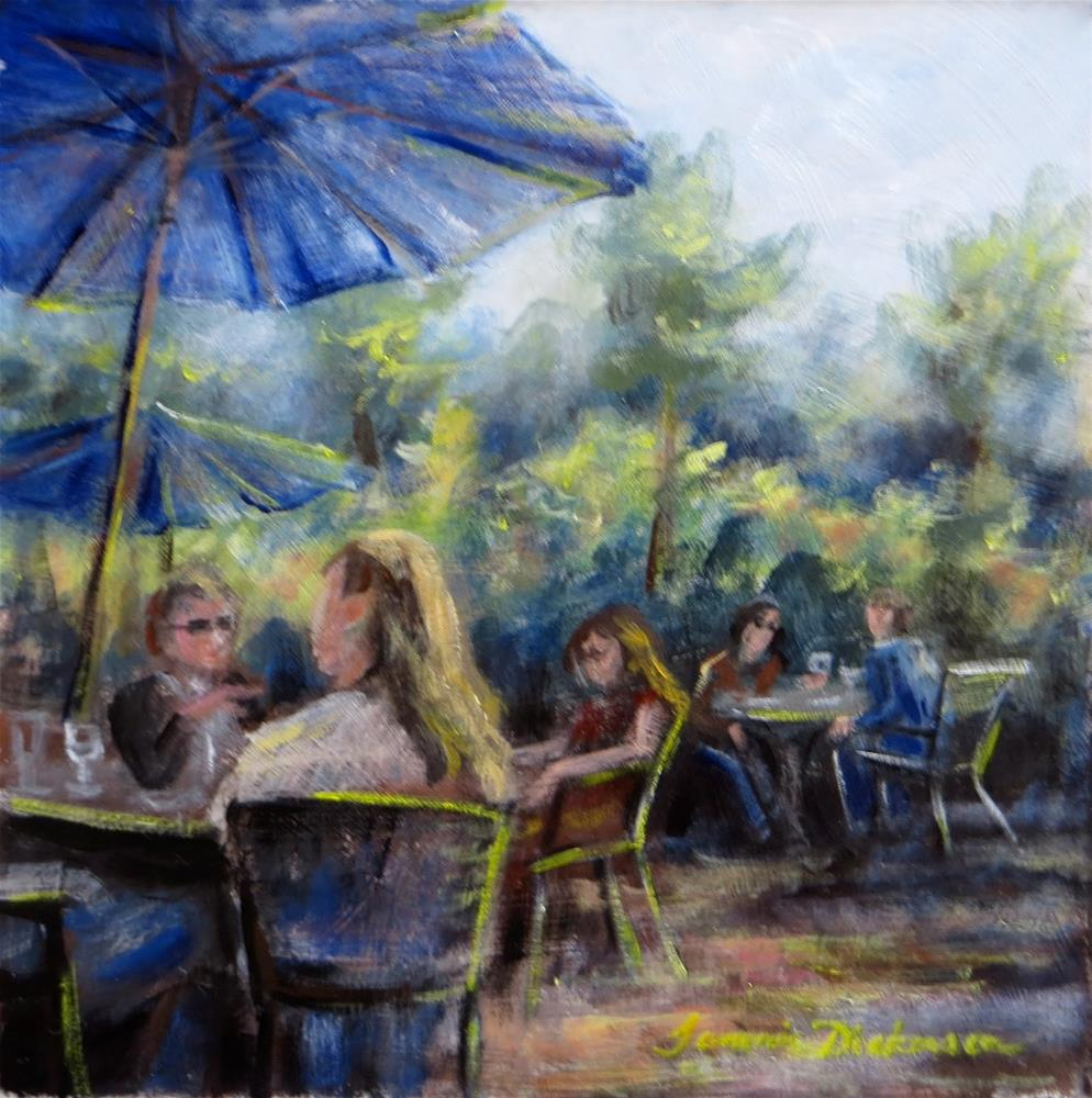 """Blue Umbrella Cafe"" original fine art by Tammie Dickerson"