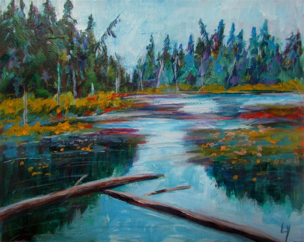 """8 x 10 inch acrylic Rat  Lake"" original fine art by Linda Yurgensen"