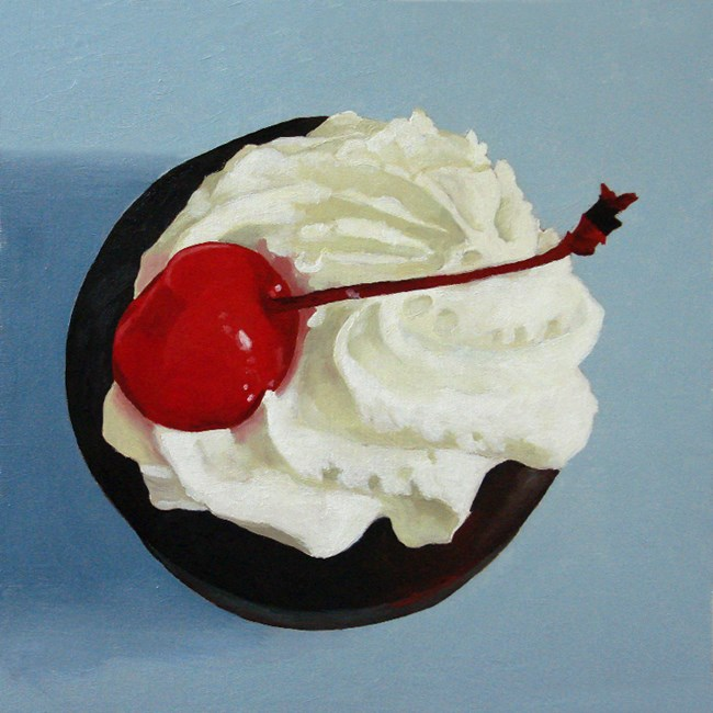 """still life chocolate tart oil painting"" original fine art by Ria Hills"
