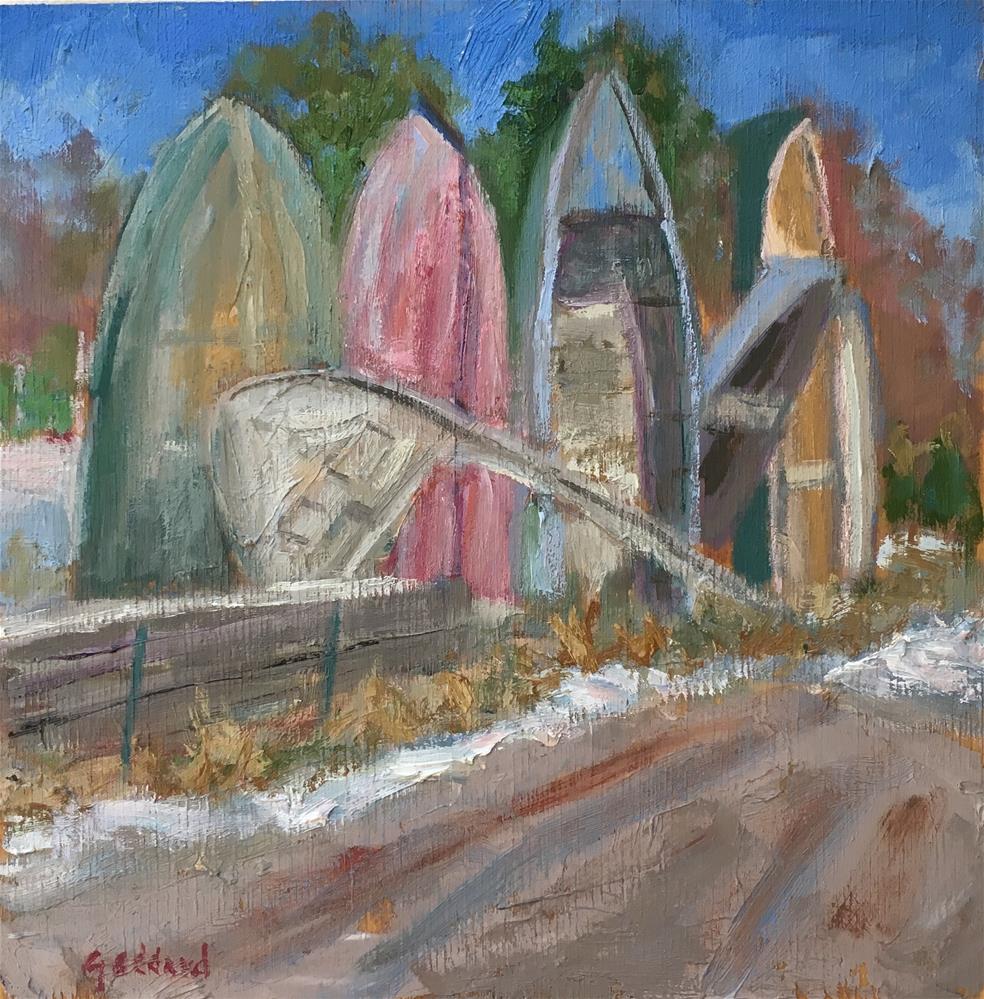 """Boat Stonehenge"" original fine art by Shari Goddard Shambaugh"