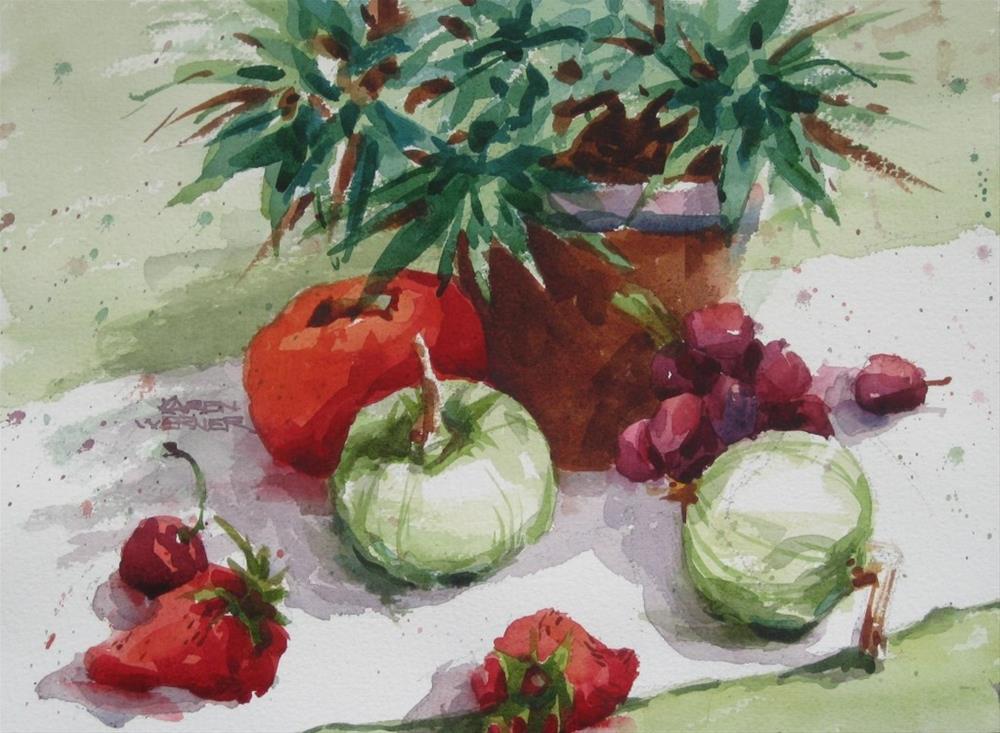 """Fruit Stand Reds & Greens"" original fine art by Karen Werner"