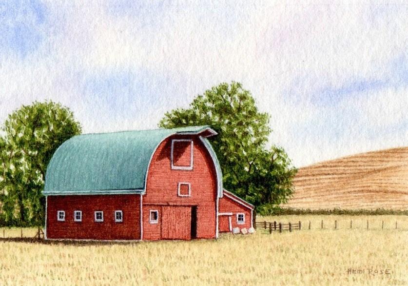 """Little Farm on the Palouse"" original fine art by Heidi Rose"