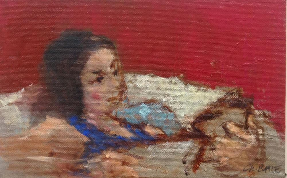 """Lea reading"" original fine art by Christine Bayle"
