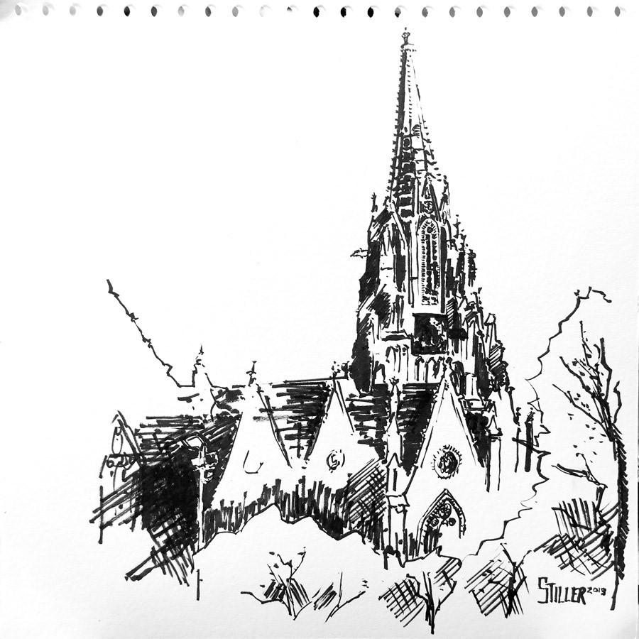 """""""2785 Christuskirche"""" original fine art by Dietmar Stiller"""