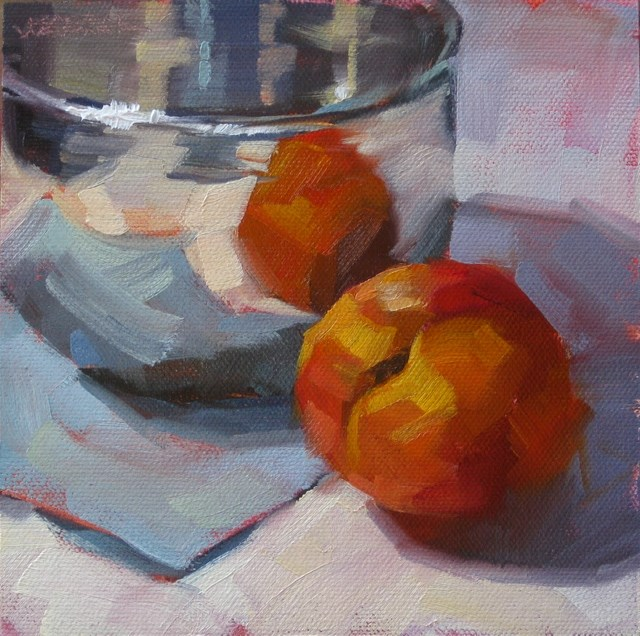 """Nectarine Reflections"" original fine art by Karen Werner"