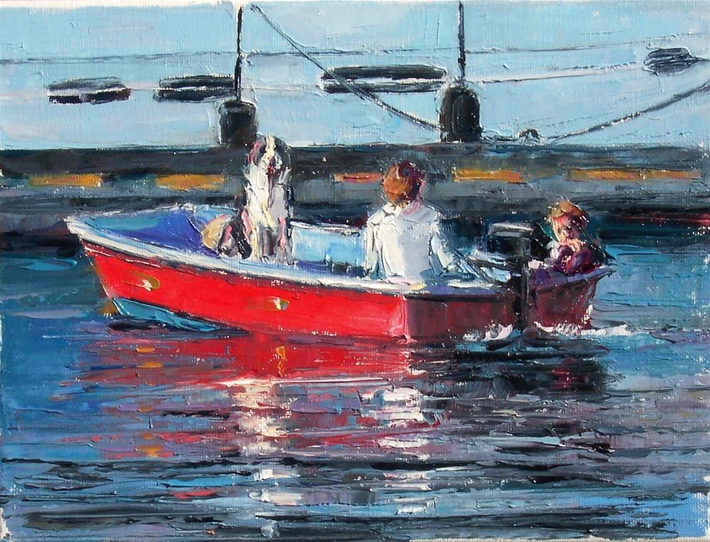 """Doggy Boat Ride,figures,oil on canvas,9x12,price$450"" original fine art by Joy Olney"