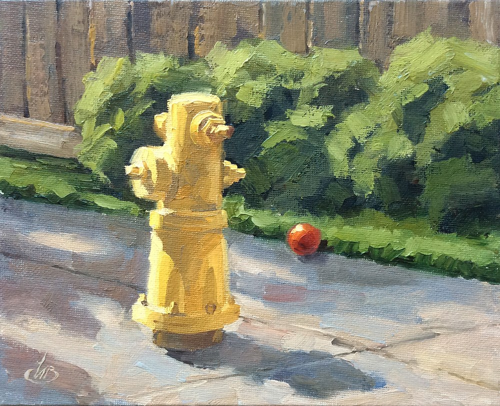 """THE RED BALL"" original fine art by Tom Brown"