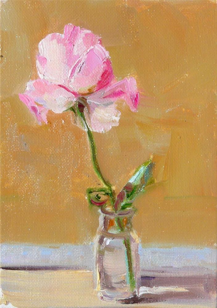 """""""A Single Rose,still life,oil on canvas,7x5,price$175"""" original fine art by Joy Olney"""