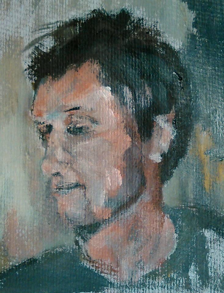 """Man in Green"" original fine art by Ann Rudd"
