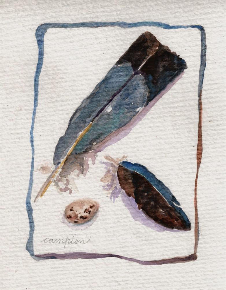 """376 Two Feathers and an Egg"" original fine art by Diane Campion"