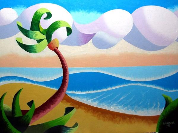 """Mark Webster - Abstract Geometric Landscape Ocean Oil Painting"" original fine art by Mark Webster"