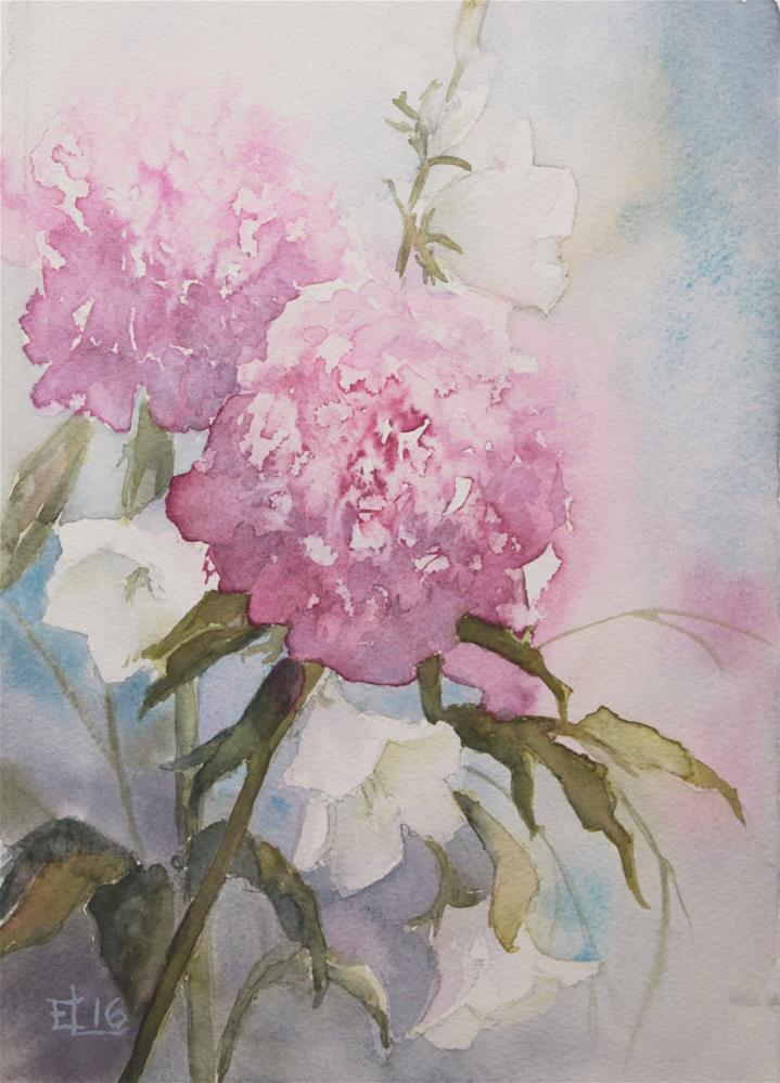 """Peonies And Bellflowers"" original fine art by Emilia Leinonen"