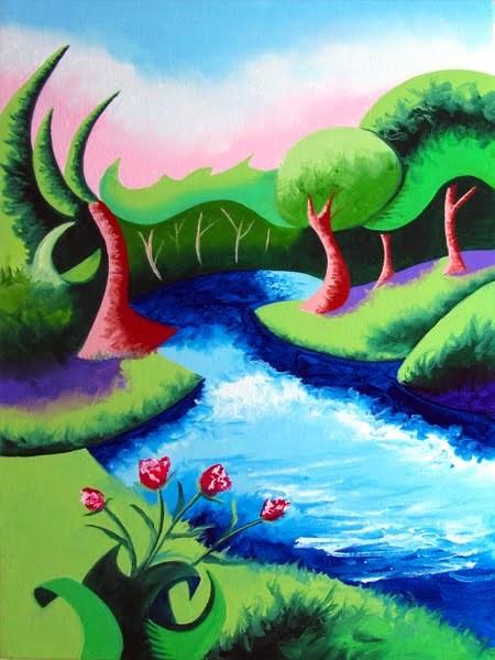 """Mark Adam Webster - Abstract Geometric River Landscape Oil Painting 2012-04-18"" original fine art by Mark Webster"