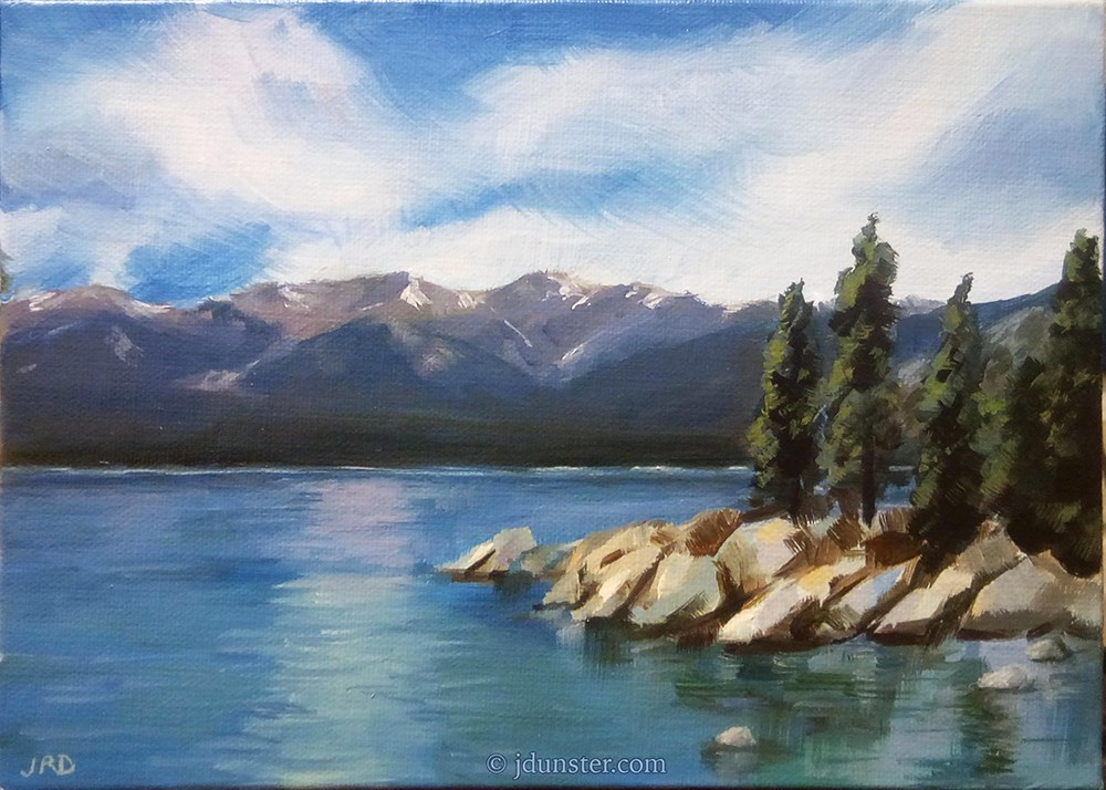 """Sierras & Lake"" original fine art by J. Dunster"