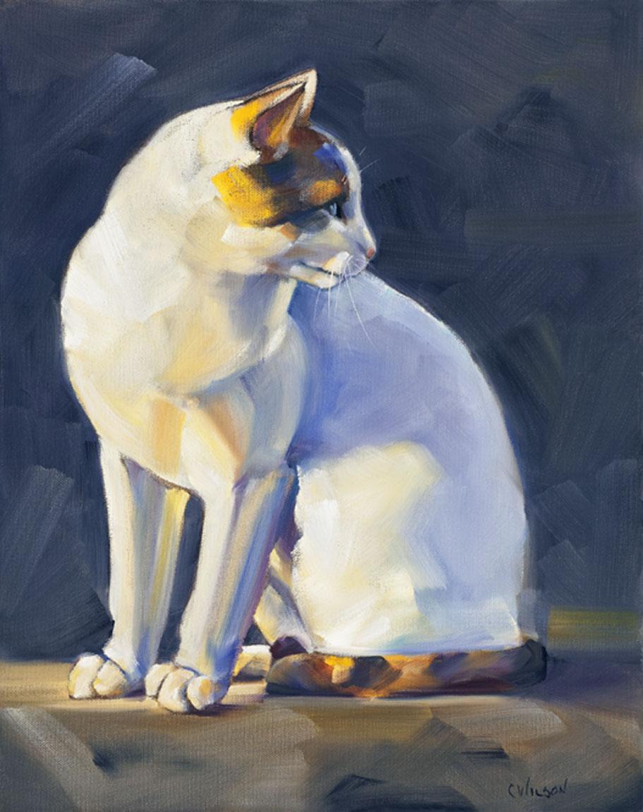 """Cat in Indigo"" original fine art by Cheryl Wilson"