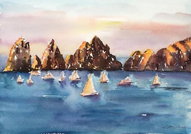 """Cabo San Lucas"" original fine art by Lisa Fu"