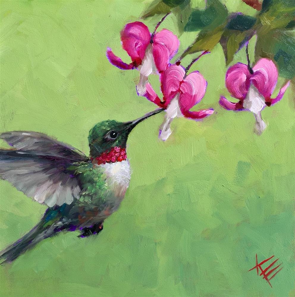 """Bleeding Hearts & Hummingbird"" original fine art by Krista Eaton"