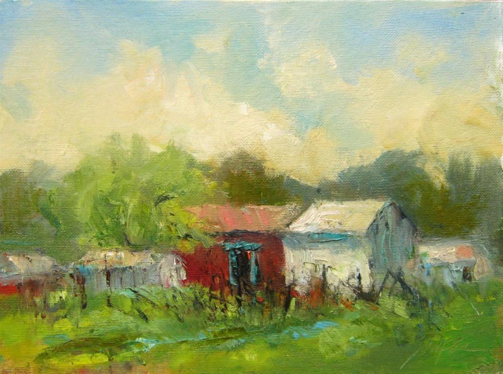 """Farm Buildings, Union County, NC"" original fine art by Connie Snipes"