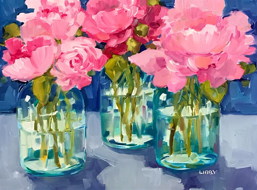 """Three Peonies"" original fine art by Libby Anderson"