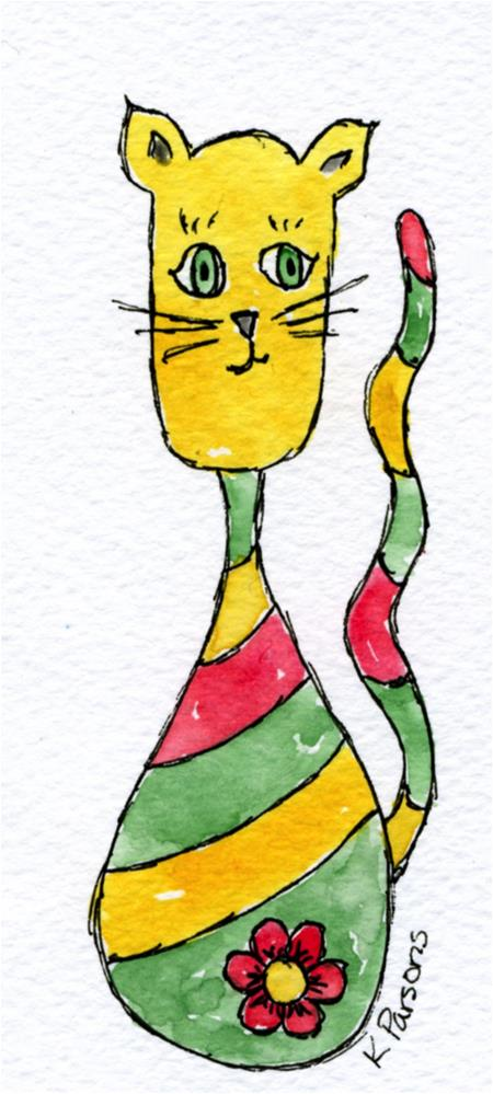 """Whimsy Cat"" original fine art by Kali Parsons"