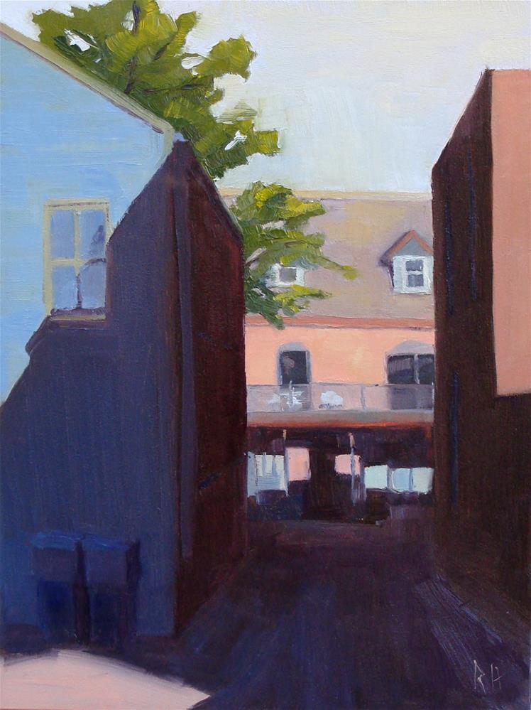 """Between the Blue and Brick"" original fine art by Rebecca Helton"