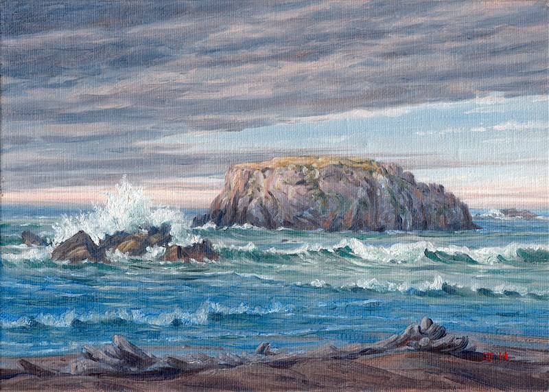 """C1539 High Tide at Table Rock"" original fine art by Steven Thor Johanneson"