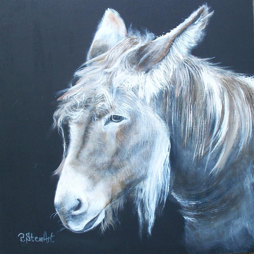 """12 x 12 Acrylic on Wood, Donkey square art, Original"" original fine art by Penny Lee StewArt"