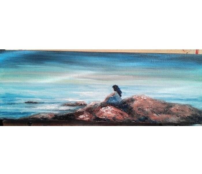 """Girl Sitting on Beach Rocks"" original fine art by Camille Morgan"