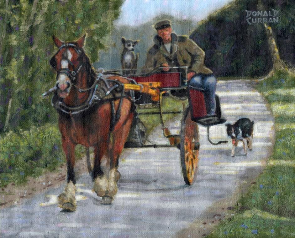 """""""Irish Jaunting Cart"""" original fine art by Donald Curran"""