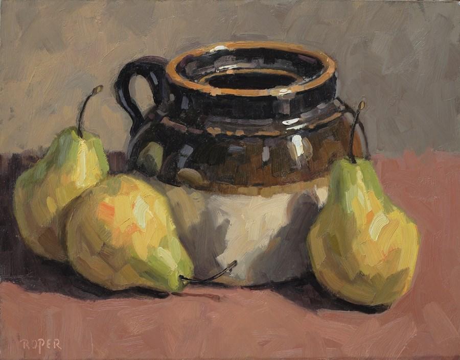"""DAY 11:  Crock With Pears"" original fine art by Stuart Roper"