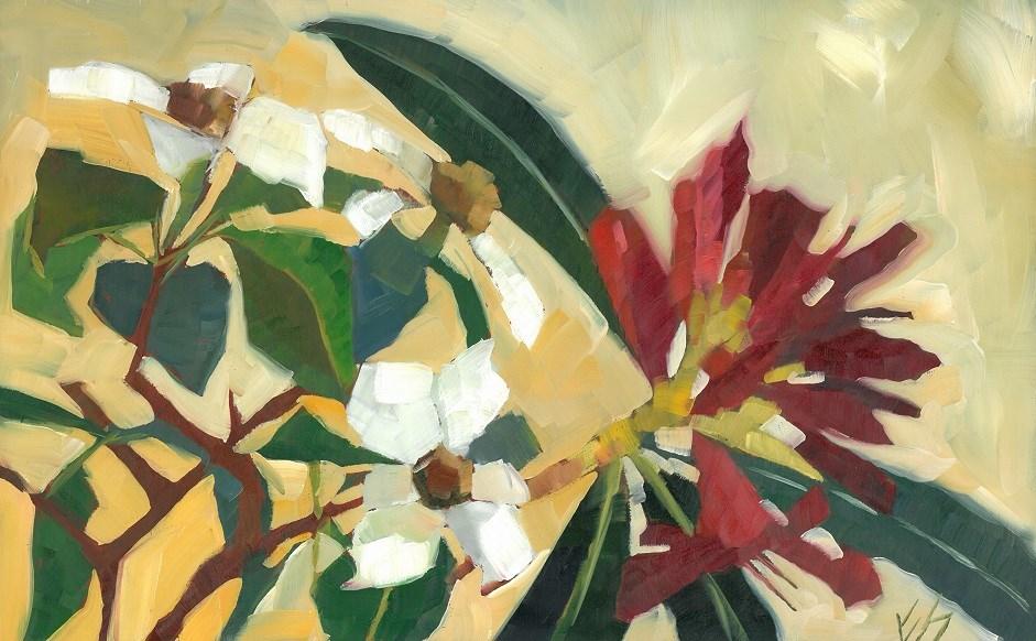 """""""Dogwood and Rhodies"""" original fine art by Elizabeth See"""