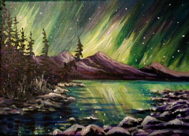 """Kluane Aurora Borealis"" original fine art by Jackie Irvine"
