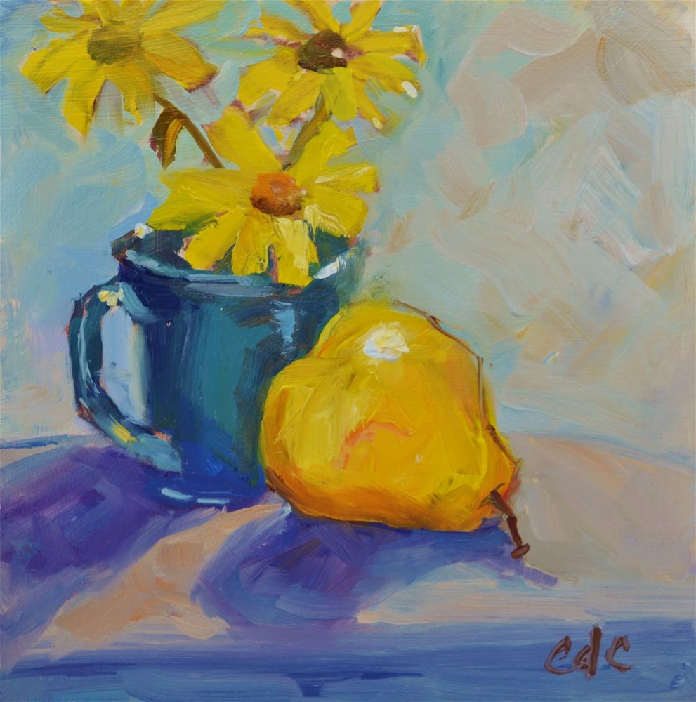 """""""Daisies and Pear"""" original fine art by Catherine Crookston"""