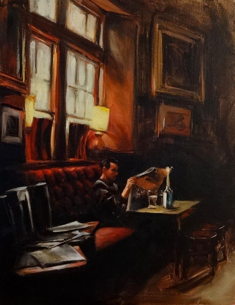 """Reading at the Pub"" original fine art by Jonelle Summerfield"