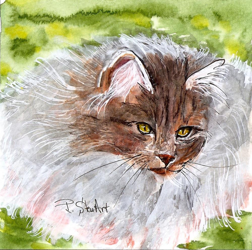 """""""6x6 Fluffy Grey Cat Rag Doll Long Haired Seal Point Watercolor Painting by Penny StewArt"""" original fine art by Penny Lee StewArt"""