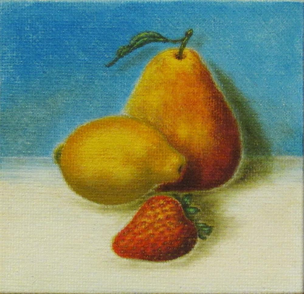 """Pear-Lemon-Strwberry-01"" original fine art by Mary Sylvia Hines"