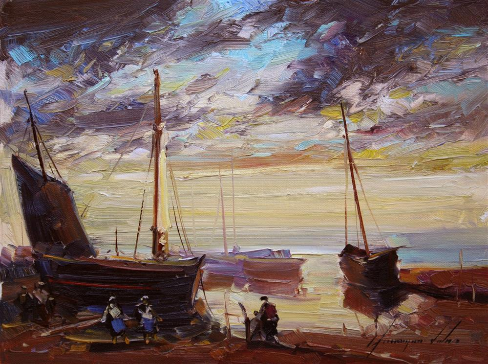 """""""FISHING BOUTS SUNSET ORIGINAL OIL PAINTING"""" original fine art by V Y"""