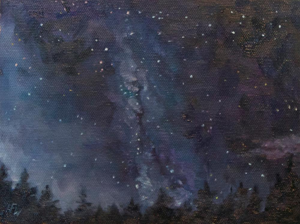 """""""The Milky Way above the Rocky Mountains"""" original fine art by H.F. Wallen"""